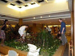 Only this we-still-don't-know-why-it's-there centerpiece to the dining hall could provide a fake jungle during Passover to hide the afikoman